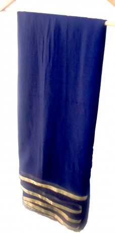 blue-plain-chiffon-saree-with-golden-borderoffer-price-big-0