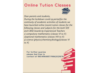 Home tuition(  home visit /online)
