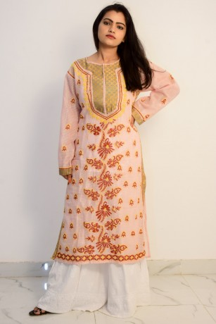 buy-hand-embroidered-lucknowi-chikan-peach-and-red-cotton-kurti-big-0