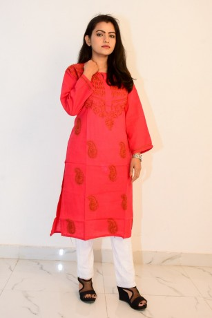 buy-hand-embroidered-lucknowi-chikan-red-cotton-kurti-big-0