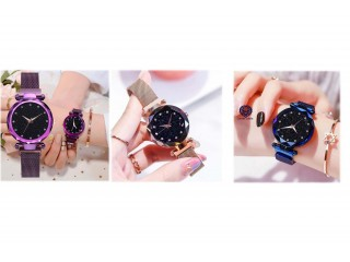 Luxury Type Fashionable Round Shape Magnetive Chain Watch For Women